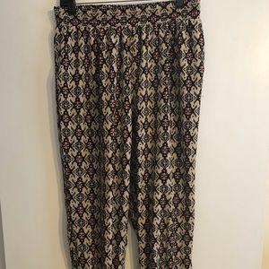 Patterned Jogger Silk Pants, XL